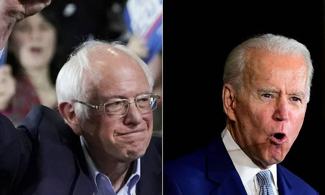 Os pré-candidatos democratas Bernie Sanders (à esquerda) e Joe Biden Foto: AFP