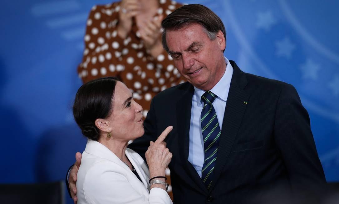 Presidente Jair Bolsonaro, na posse de Regina Duarte como secretária especial de Cultura Foto: Pablo Jacob / Agência O Globo