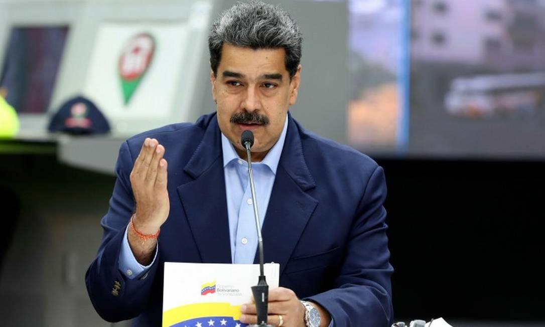 Nicolás Maduro durante pronunciamento na TV: presidente venezuelano pede que mulheres tenham mais filhos Foto: MARCELO GARCIA / AFP