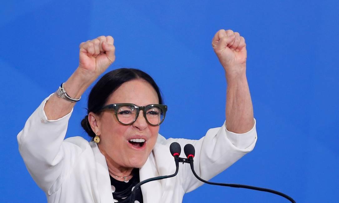 Regina Duarte durante seu discurso de posse em Brasília Foto: ADRIANO MACHADO / REUTERS