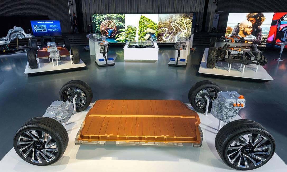 General Motors apresenta seu novo sistema modular movido a bateria, chamado Ultium, no centro tecnológico de Warren, Michigan. Foto: STEVE FECHT/GM / via REUTERS