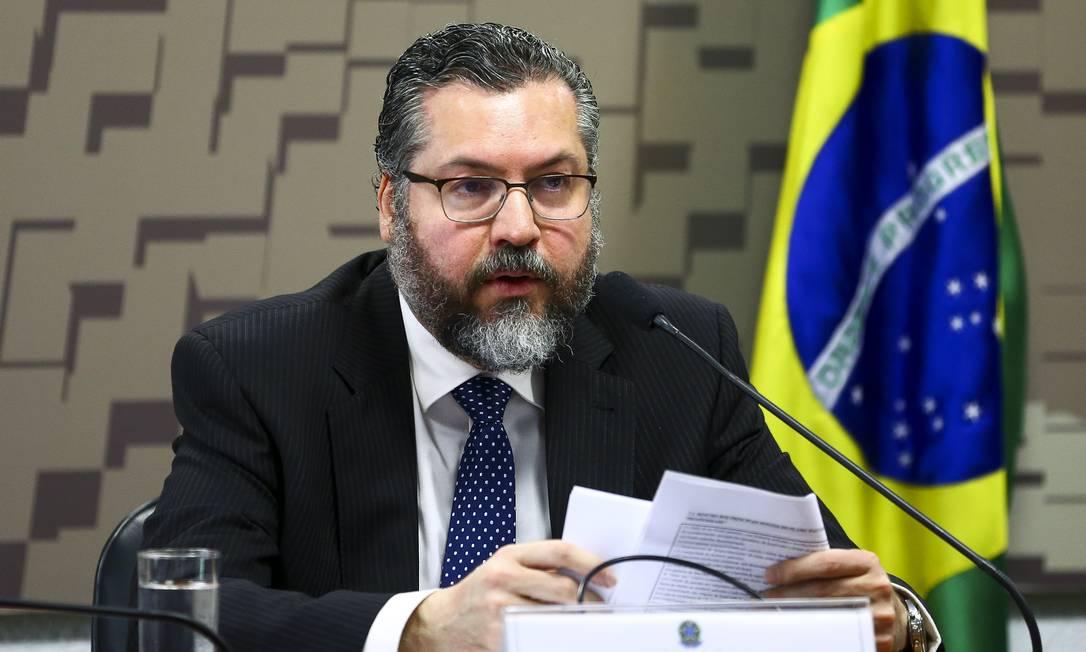 O chanceler Ernesto Araújo Foto: Marcelo Camargo / Agência O Globo