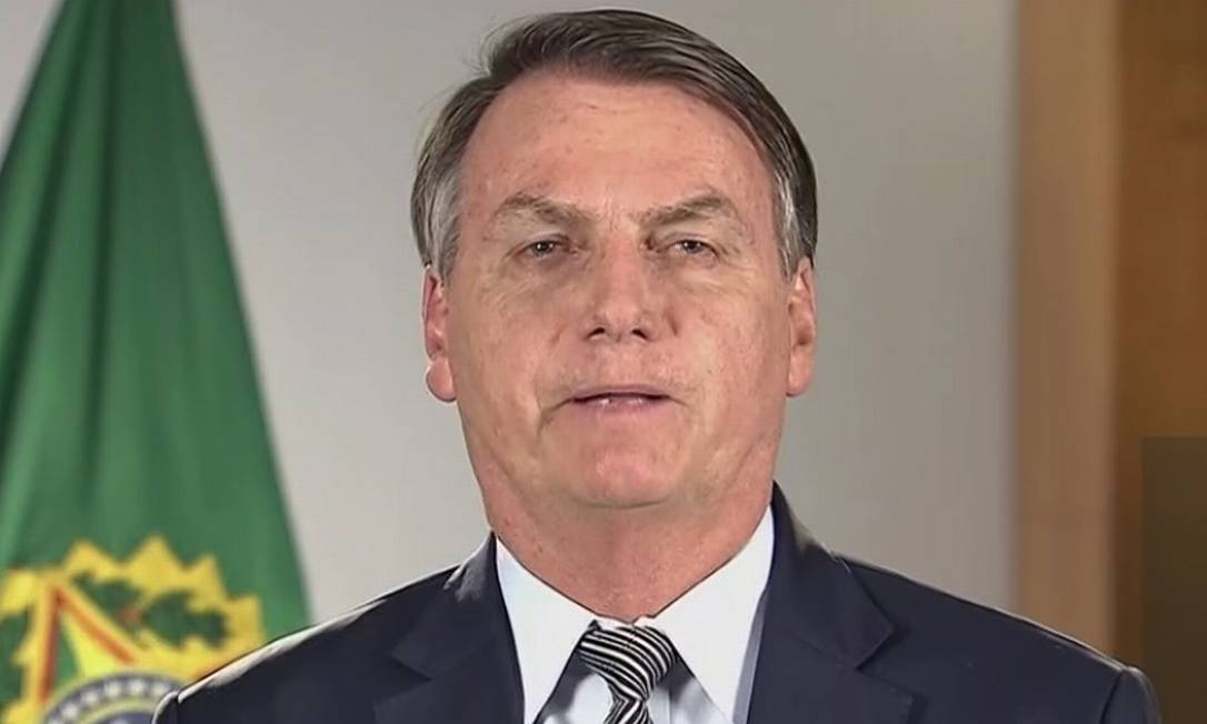 O presidente Jair Bolsonaro em pronunciamento à nação Foto: Reprodução
