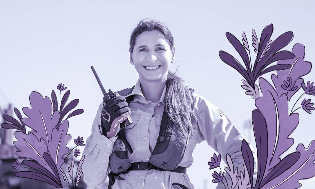 Vanessa Zamprogno, que atua na praticagem, no porto do Recife Foto: Leo Malafaia