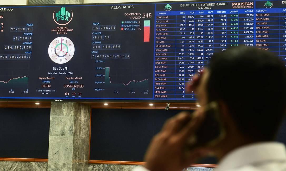 Pregão na Bolsa de Valores do Paquistão (PSX), em Karachi, mostra ligeira recuperção depois de enfrentar forte queda, nesta segunda-feira Foto: ASIF HASSAN / AFP