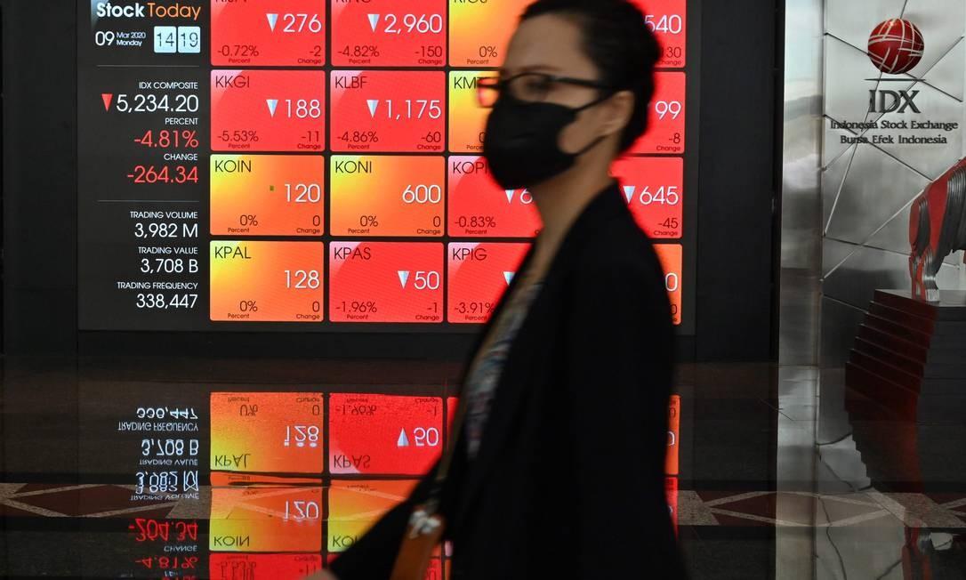 Pregão da Bolsa de Valores da Indonésia (IDX), em Jacarta, abriu em queda de 4% e desvalorização está próxima de chegar a 7% Foto: ADEK BERRY / AFP