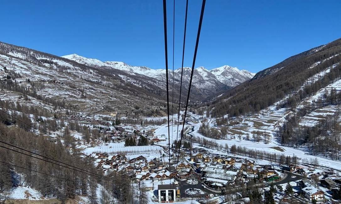 Advogada registrou imagem da estação de esqui nas férias em Piemonte Foto: Reprodução