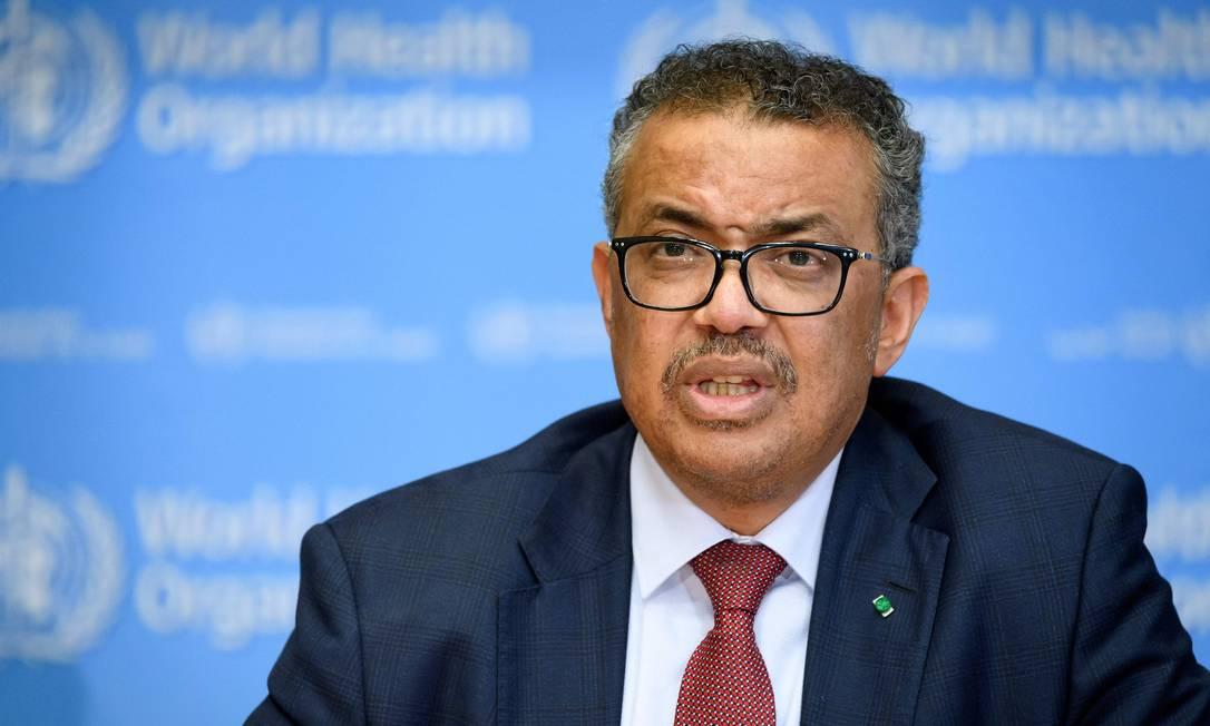 Diretor-geral da Organização Mundial da Saúde (OMS) Tedros Adhanom Ghebreyesus Foto: FABRICE COFFRINI / AFP