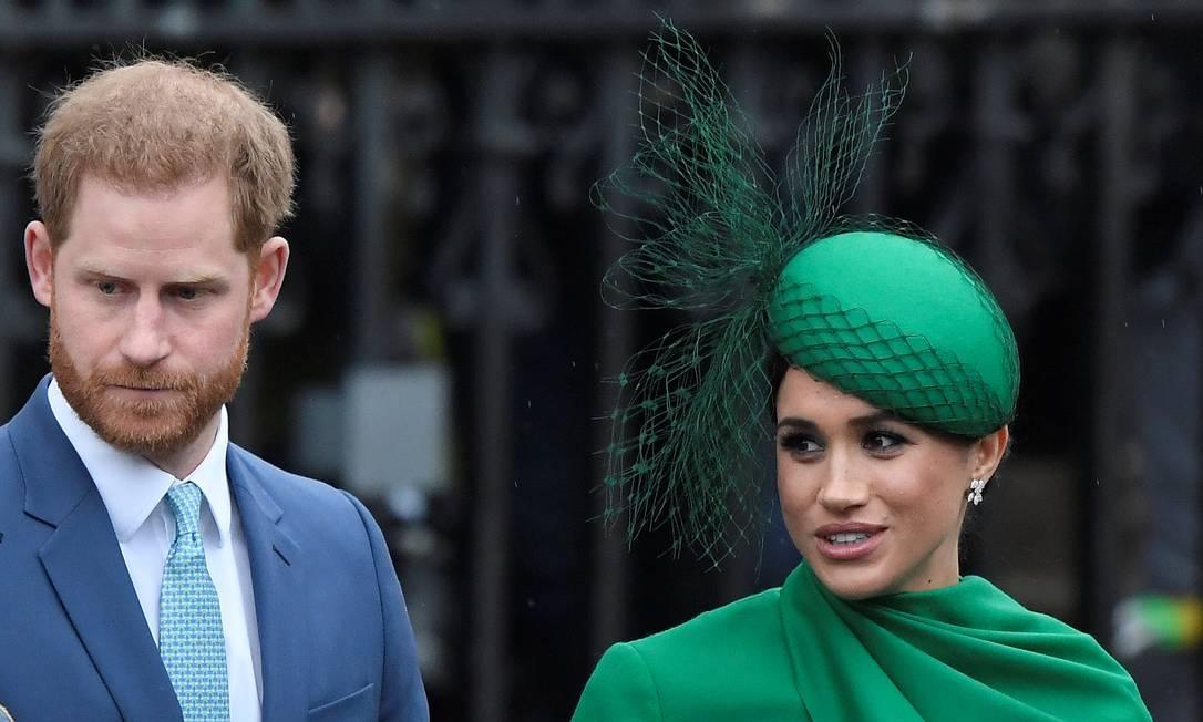 O duque e a duquesa de Sussex participam de sua última reunião pública familiar como membros da Coroa britânica na Abadia de Westminster Foto: TOBY MELVILLE / REUTERS/09-03-2020