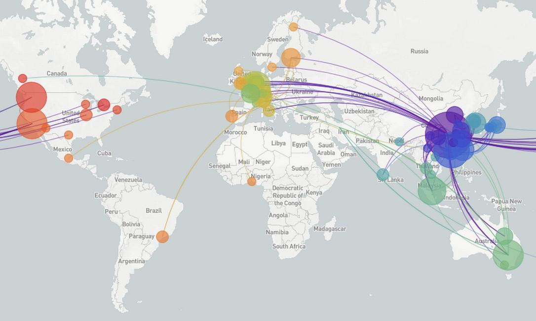 Mapa do projeto Nextstrain mostra rotas de espalhamento do novo coronavírus a partir de sua origem na China Foto: Divulgação / Nextstrain