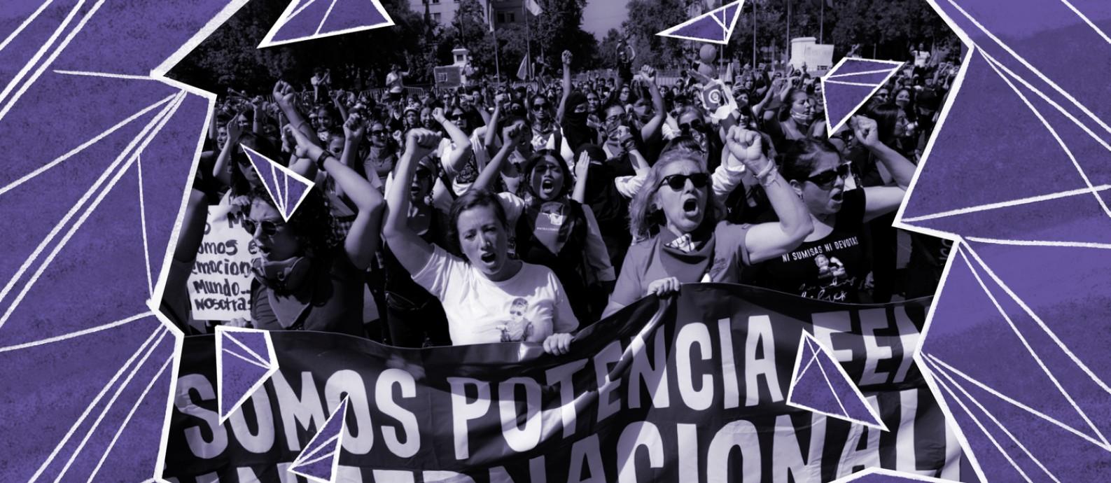 Mulheres protestam em Santiago Foto: Martin Bernetti / AFP / com arte de O Globo