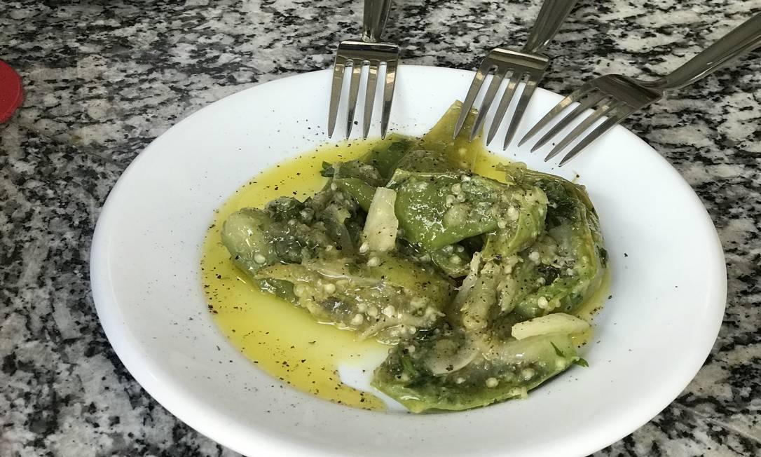 Labuta: jiló em conserva de molho especial do chef Foto: Divulgação/Rio4Fun