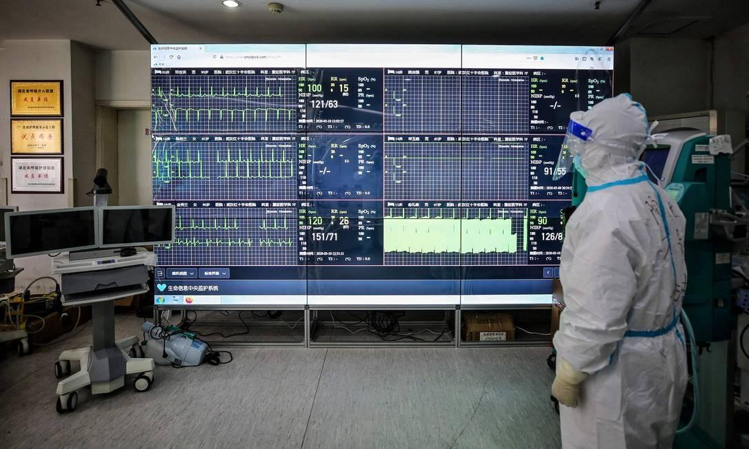 Equipe médica monitora uma tela que mostra os números de pacientes infectados pelo coronavírus no Hospital da Cruz Vermelha em Wuhan, China Foto: STR / AFP