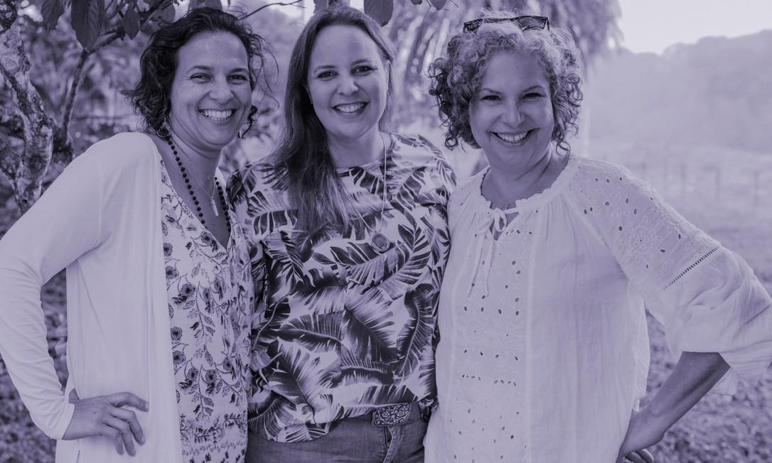 Chocolateiras: a partir da esquerda, Patricia Vianna, da Modaka; Marcela Monteiro de Carvalho, da Cacau do Céu; e Juliana Aquino,da Baianí Foto: Ana Lee