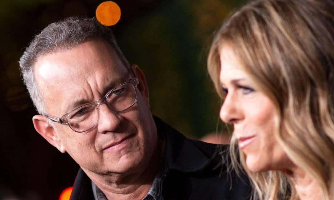 Tom Hanks e sua mulher, a atriz Rita Wilson: casal foi diagnosticado com coronavírus Foto: VALERIE MACON / AFP