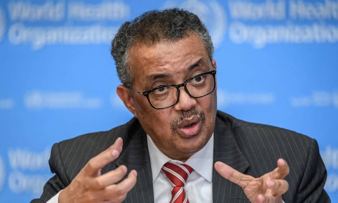 O diretor-geral da Organização Mundial da Saúde (OMS), Tedros Adhanom Ghebreyesus, em coletiva de imprensa na última quarta-feira (11) Foto: FABRICE COFFRINI / AFP