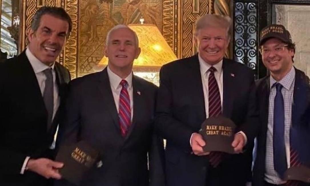 Fabio Wajngarten ao lado do presidente Donald Trump e do vice-presidente Mike Pence Foto: Reprodução/Instagram
