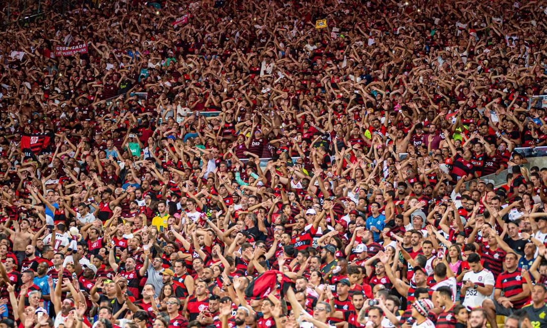 Torcida do Flamengo na partida contra o Barcelona de Guayaquil, no Maracanã, pela Libertadores 2020 Foto: Paula Reis/Flamengo/Divulgação/11.03.2020