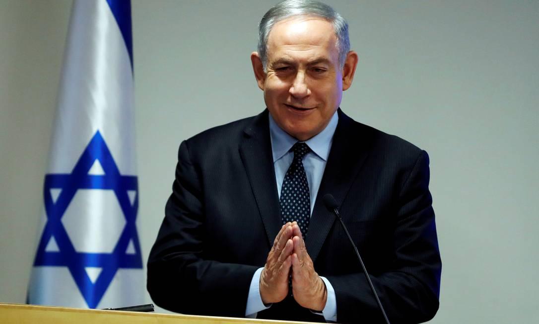 Primeiro-ministro israelense, Benjamin Netanyahu, em anúncio sobre novas medidas para conter coronavírus em Israel Foto: AMMAR AWAD / REUTERS
