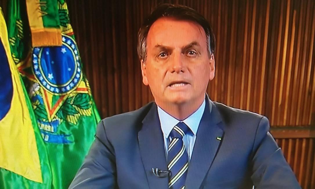 Bolsonaro faz pronunciamento em cadeia de rádio e TV para falar sobre coronavírus Foto: Reprodução