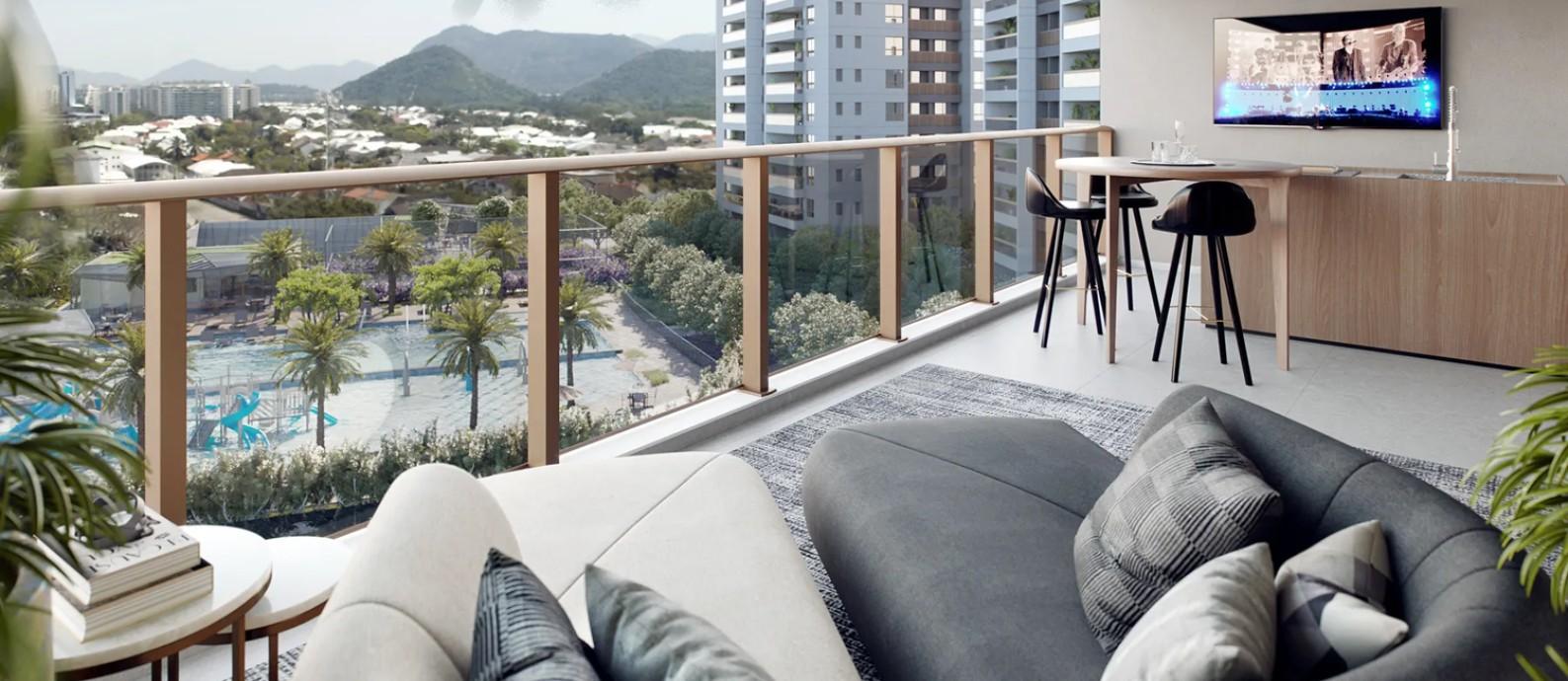 Vista do apartamento 504do Ed. South, com o complexo aquático e a paisagem ao fundo Foto: Divulgação