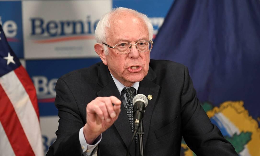 Senador Bernie Sanders em discurso sobre coronavirus em Burlington, Vermont Foto: CALEB KENNA / REUTERS