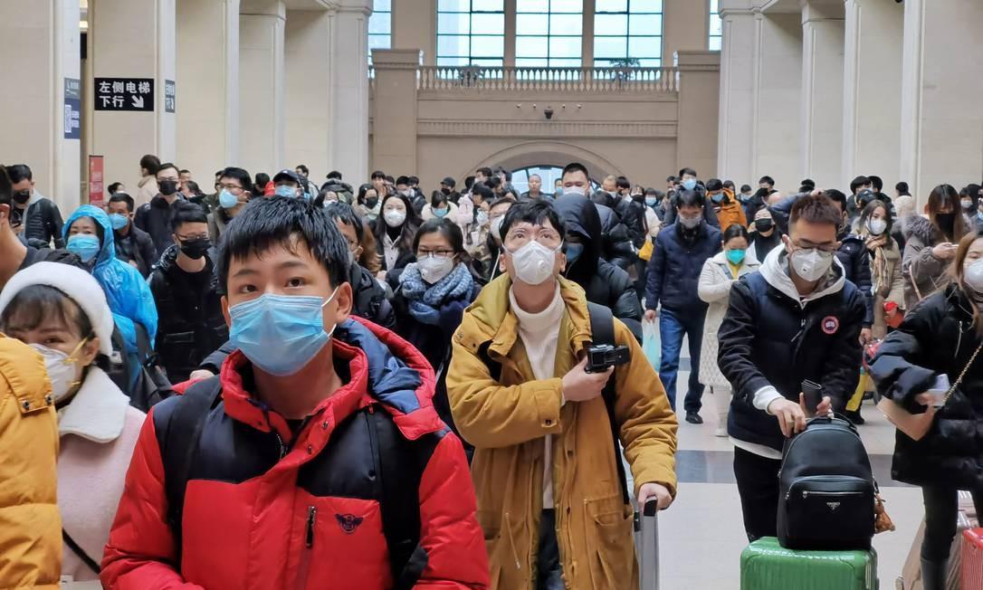 Estação de trem em Wuhan, na China, logo após o surgimento do coronavírus. Foto: Stringer / Getty Images