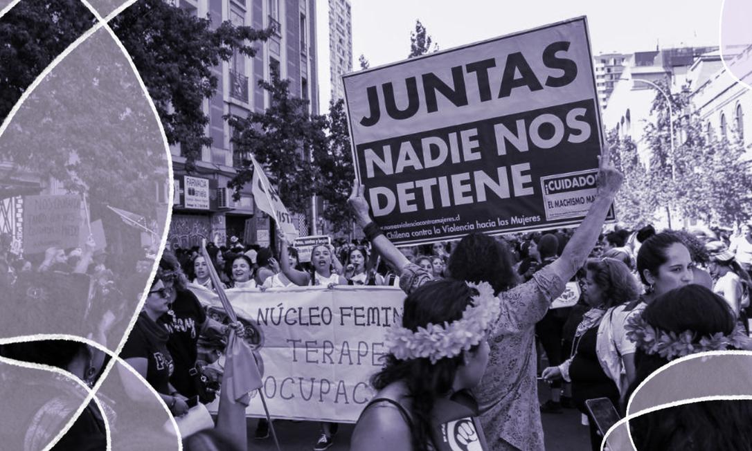 No Dia Internacional da Mulher as ruas de Santiago do Chile foram tomadas por uma multidão de mulheres. O ato, que mobilizou cerca de 2 milhões de pessoas apenas na capital, aconteceu em meio a uma série de protestos que têm ocorrido no país nos últimos meses Foto: Amanda Aravena/Red Chilena