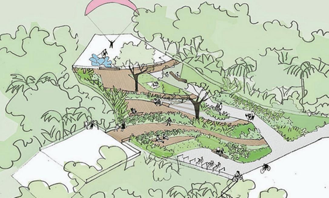 Projeto arquitetônico do parque evidencia opção por mais áreas arborizadas e espaços de convivência Foto: Divulgação