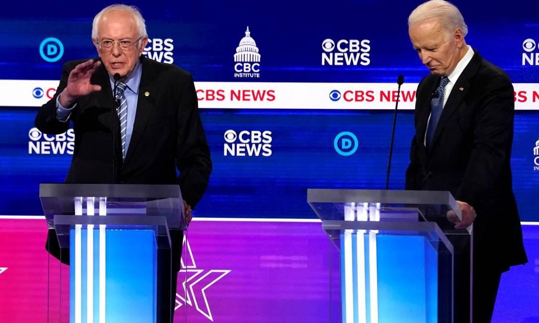 Sanders e Biden: disputa democrata Foto: Jonathan Ernst / REUTERS