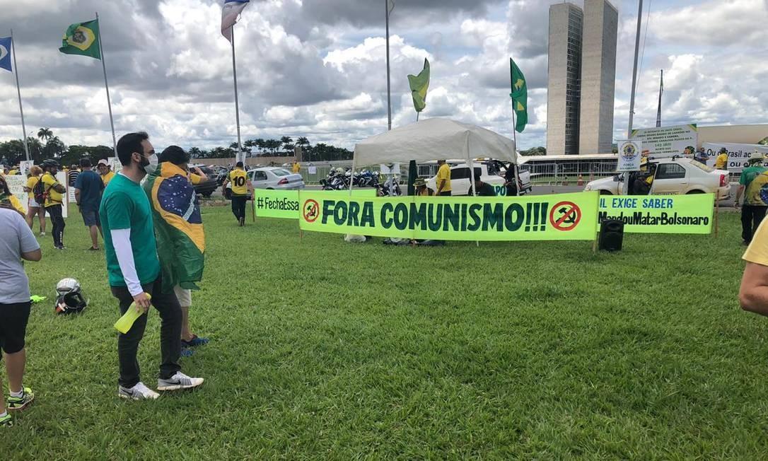 Em Brasília, o ato foi em frente ao Congresso Nacional Foto: Aguirre Talento / Agência O Globo