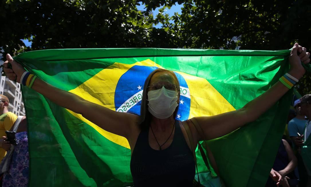 RI - Rio de Janeiro (RJ) 15/03/2020 - Manifestação pró-Bolsonaro e contra o Congresso em Copacabana. Fotos: Pedro Teixeira/ O Globo Foto: Pedro Teixeira / Agência O Globo