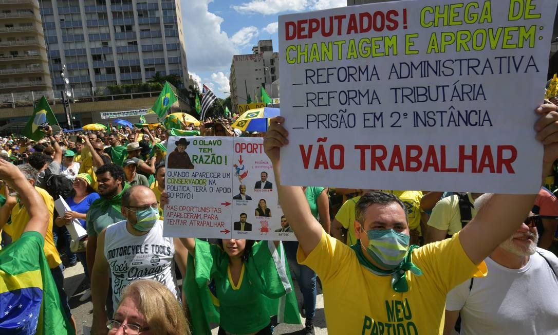 Congresso é o principal alvo dos apoiadores do presidente Jair Bolsonaro nos atos que aconteceram neste domingo em Brasília (foto), Rio e São Paulo Foto: Nelson Almeida / AFP
