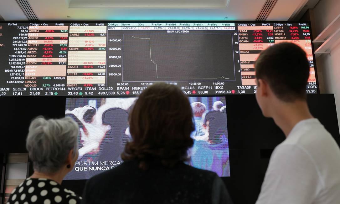 Operadores na Bolsa brasileira após os negócios terem sido suspensos, por ter havido queda do índice superior a 10% na última semana REUTERS/Amanda Perobelli Foto: AMANDA PEROBELLI / REUTERS