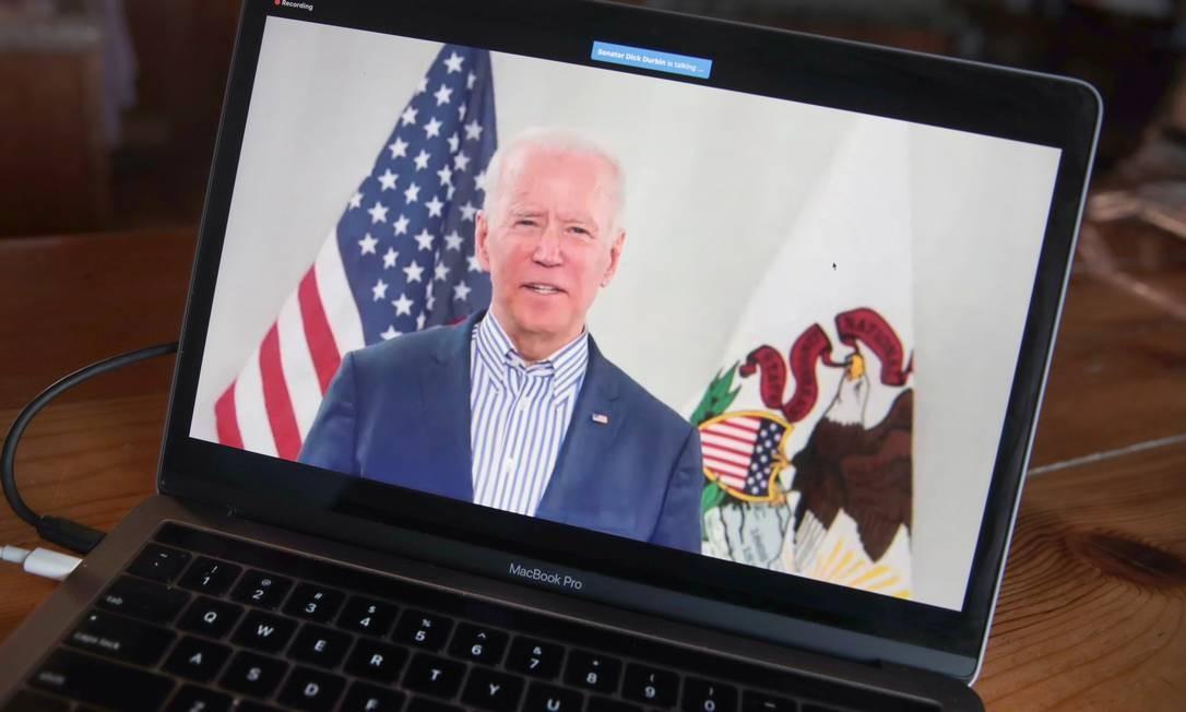 Ex-vice presidente Joe Biden em transmissão ao vivo de campanha Foto: SCOTT OLSON / AFP