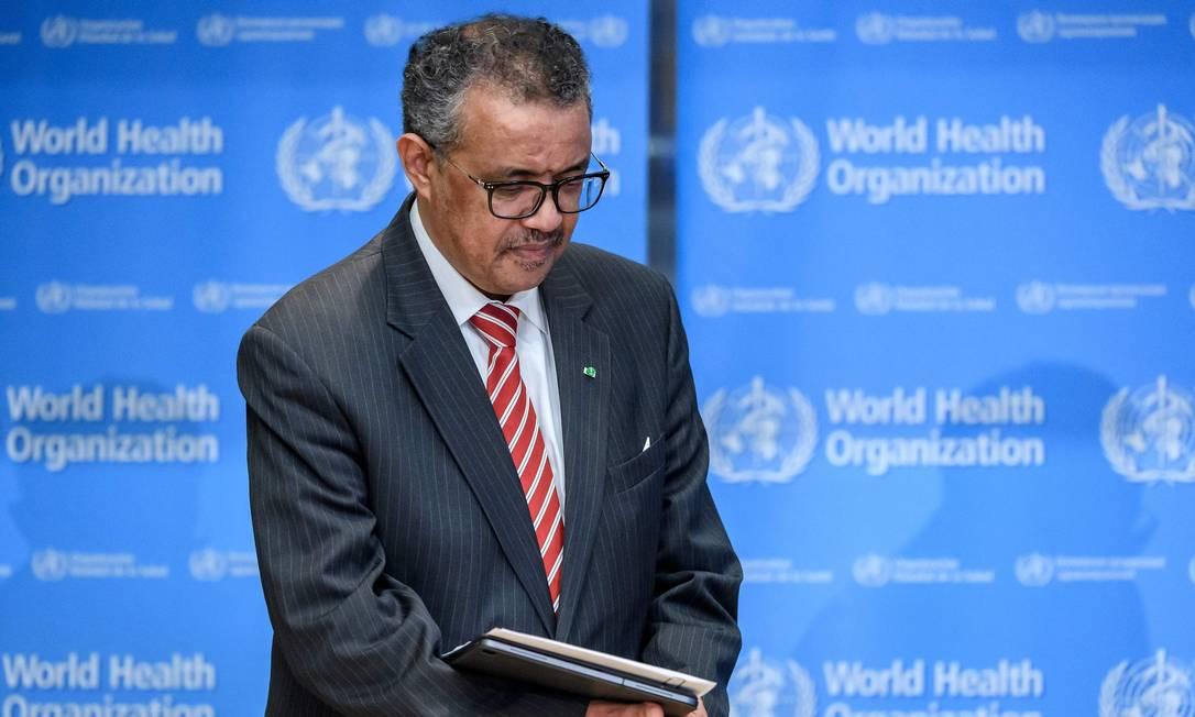 O diretor-geral da OMS, Tedros Adhanom Ghebreyesus, durante entrevista coletiva sobre o novo coronavírus Foto: FABRICE COFFRINI / AFP