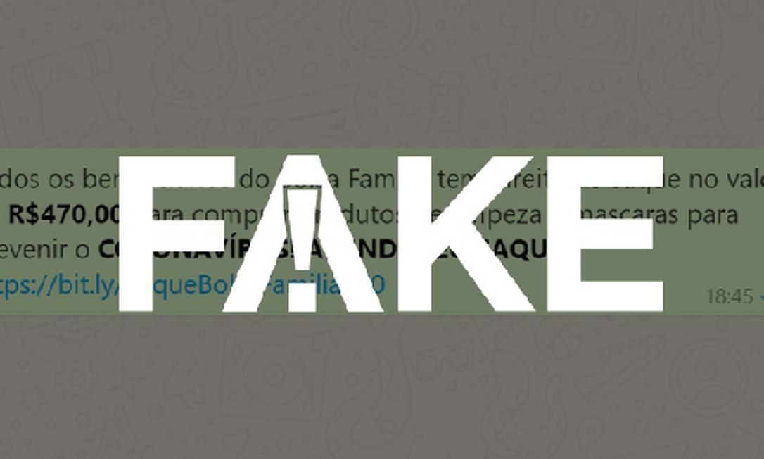 É #FAKE que beneficiários do Bolsa Família vão ganhar R$ 470 para comprar produtos de limpeza e máscaras contra o coronavírus Foto: Reprodução