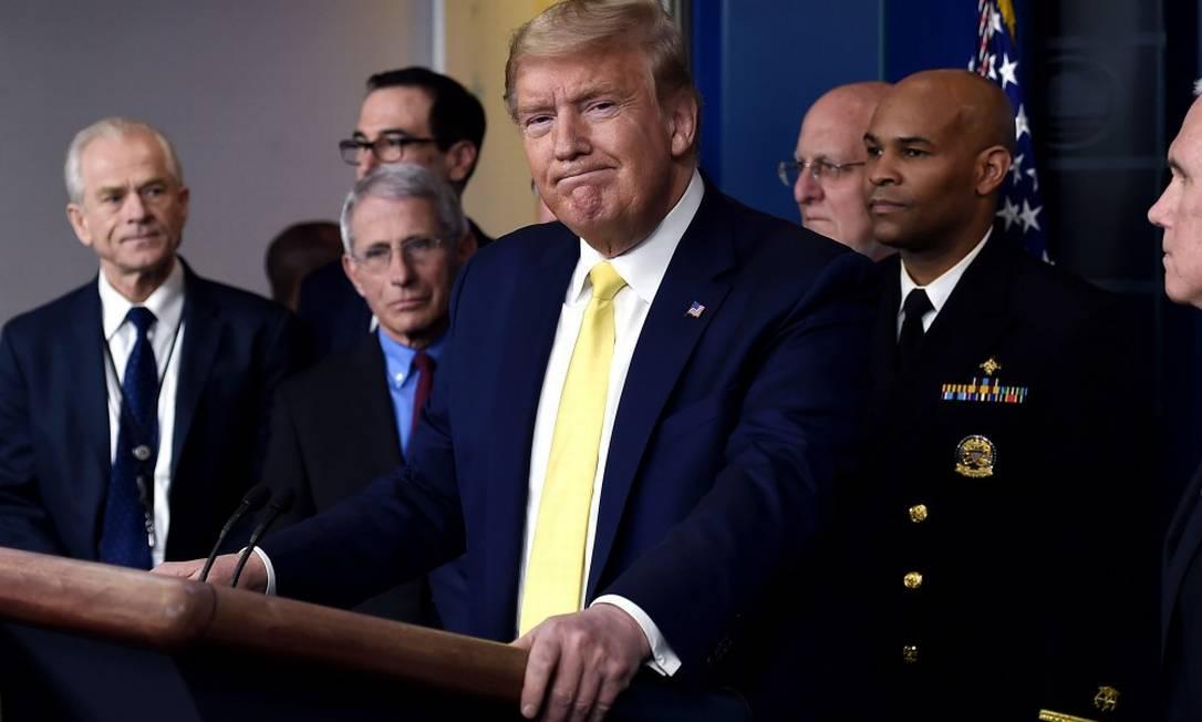 Presidente Donald Trump durante entrevista coletiva sobre o novo coronavírus Foto: OLIVIER DOULIERY / AFP / 09-03-2020