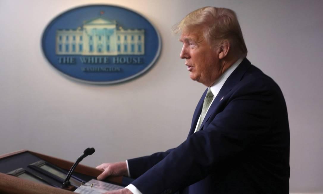 Presidente Donald Trump durante entrevista coletiva sobre a pandemia da Covid-19 Foto: Jonathan Ernst / Reuters / 17-03-2020
