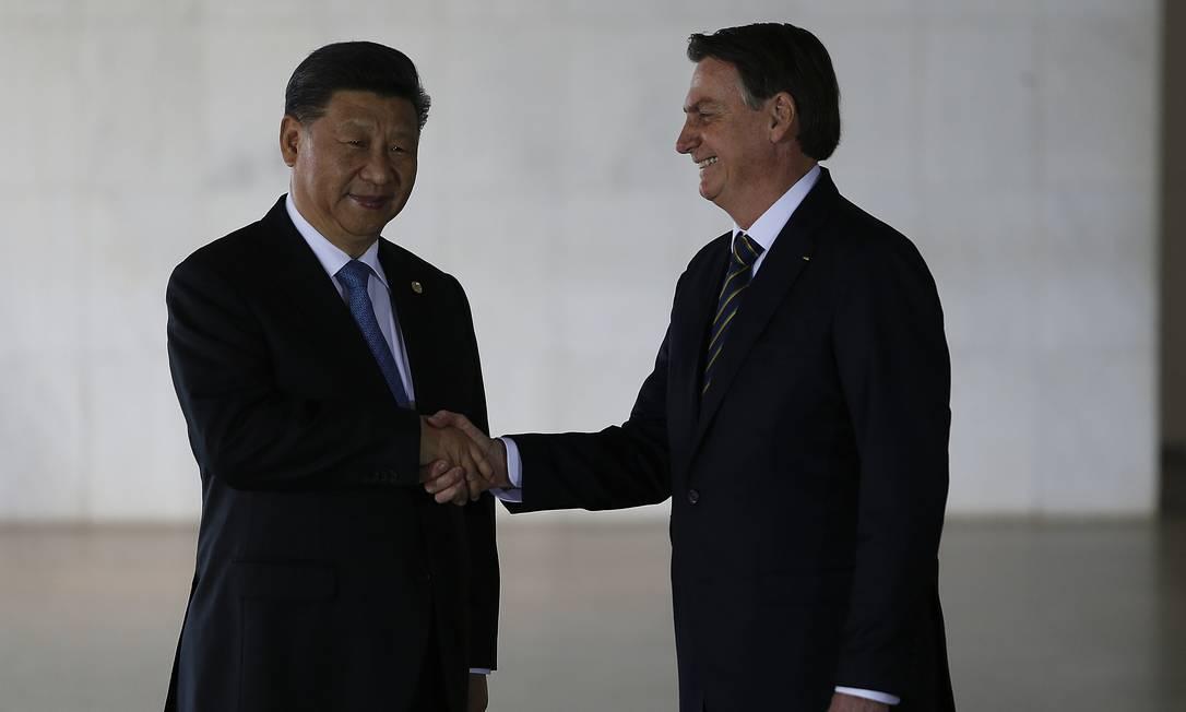 Na foto, o presidente da China, Xi Jinping e o presidente do Brasil, Jair Bolsonaro Foto: Jorge William / Agência O Globo