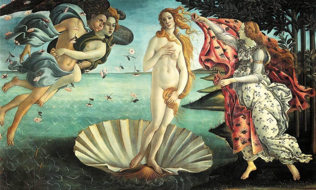"""""""O nascimento de Venus"""", de Botticelli, na Galeria Uffizi, em Florença Foto: Reprodução"""