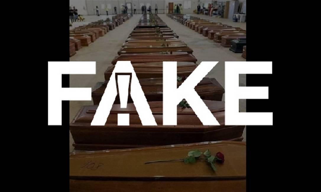 É #FAKE que foto de dezenas de caixões enfileirados seja de vítimas do coronavírus na Itália Foto: Reprodução