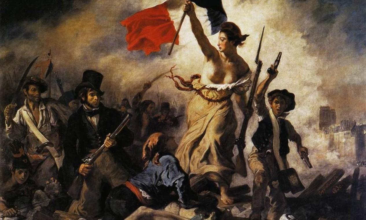 """""""A liberdade guiando o povo"""", de Eugène Delacroix, no Louvre Foto: Reprodução"""