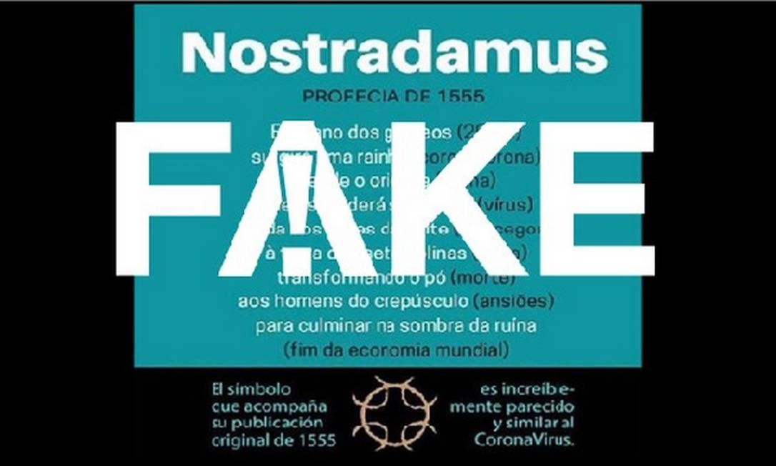 É #FAKE que Nostradamus fez profecia do novo coronavírus em livro de 1555 Foto: Reprodução