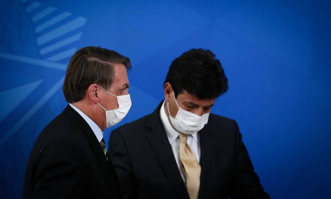 Bolsonaro e Mandetta em coletiva no Palácio do Planalto Foto: Pablo Jacob / Agência O Globo