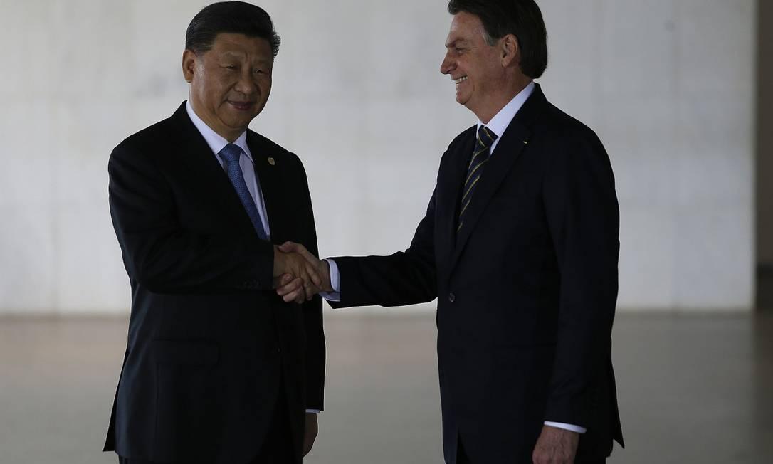 Presidentes Xi Jinping e Jair Bolsonaro, durante visita do líder chinês a Brasília Foto: Jorge William / Agência O Globo / 14-11-2019