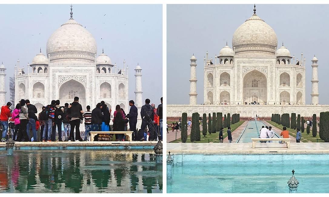 Taj Mahal antes e depois do coronavírus Foto: Reprodução
