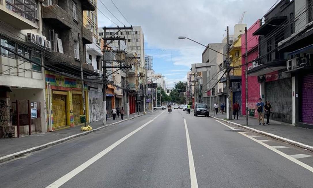 Lojas na tradicional Rua Teodoro Sampaio, em Pinheiros, fecharam as portas e movimento acabou Foto: Renato Andrade / Renato Andrade