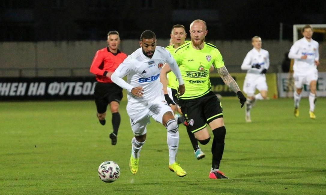 Gabriel estreou pelo Torpedo Zhodino, da Bielorrússia, marcando o gol da vitória Foto: FC Torpedo Zhodino/Divulgação