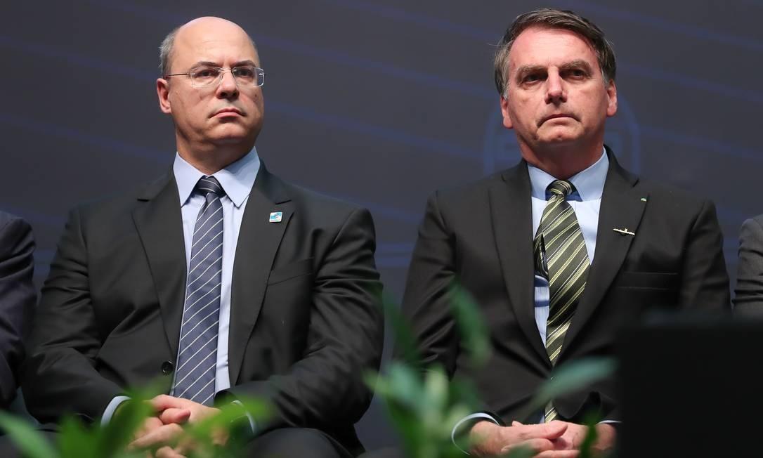 Presidente da República Jair Bolsonaro, acompanhado do Governador do Estado do Rio de Janeiro, Wilson Witzel. Foto: Marcos Corrêa / Agência O Globo/11-10-19